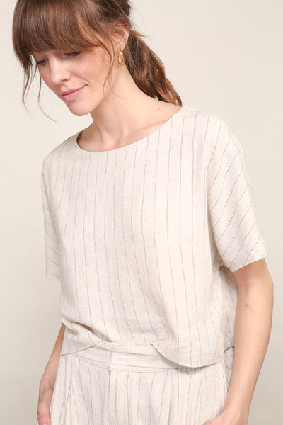Striped Boxy Woven Top