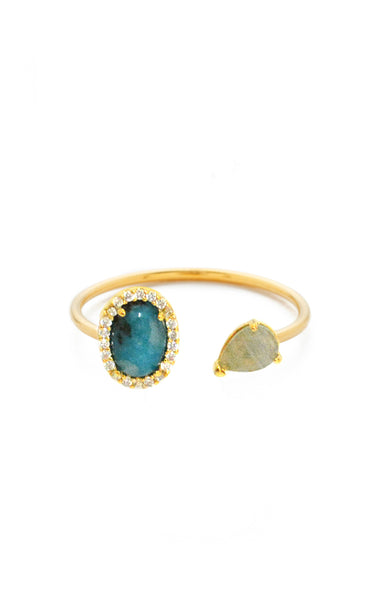 Labradorite and Stone Adjustable Ring