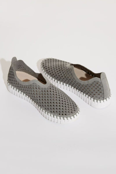 Grey Perforated Slip-On Shoes