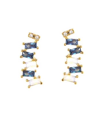 Crystal Baguette Crawler Earrings