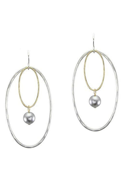 Double Oval Drop Earrings