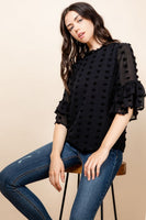 Sheer Flutter Sleeve Blouse