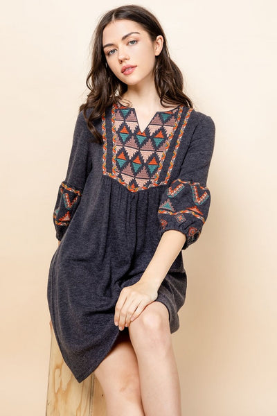 Knit Embroidered Dress