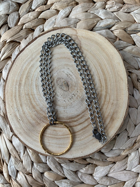 Mixed Metal Circle Necklace