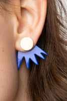 Cobalt Burst Brass Earrings