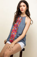 Embroidered Halter Print Top