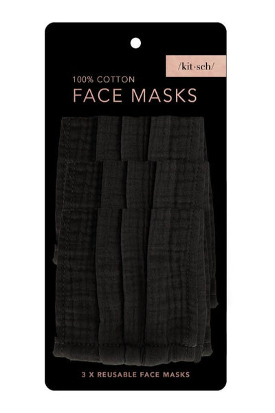 Black Cotton Mask 3pc Set