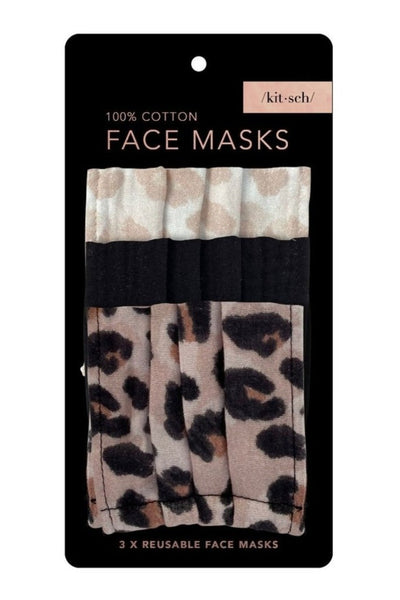 Leopard Cotton Mask 3pc Set