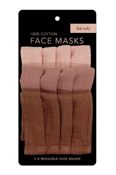 Dusty Rose Cotton Mask 3pc Set