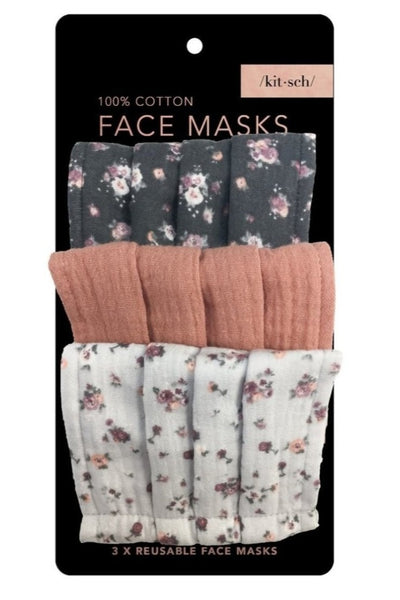 Vintage Floral Cotton Mask 3pc Set