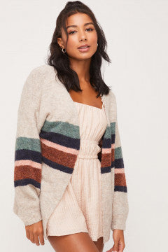 Stripe Sleeve Cardigan
