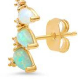 Three Stone Opal Climber Earrings