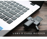 Hot New Arrival Simultaneously USB 3.0 Memory Card Reader for SD/micro and SD/TF/microsd