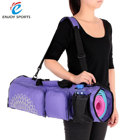 Yoga Mat Bag with Open Ends Mobile Pocket Water Bottle Holder