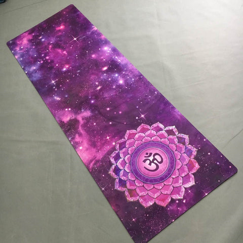 Hot Yoga mat Purple sky suede skin Natural Rubber eco-friendly slip-resistant