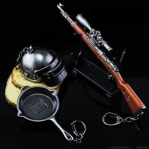 Hot New Arrival Playerunknown's Battlegrounds Pans - Kar98k 8x scope - Helmet lv 3 Keychain