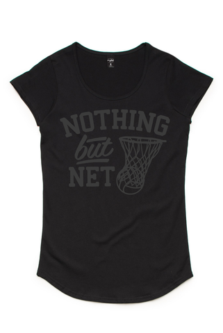 Silver Ferns Net Black Scoop Tee
