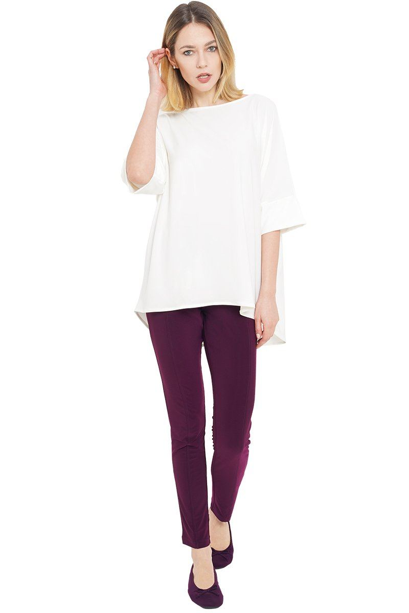 Women's White Oversized High Low Janice Top