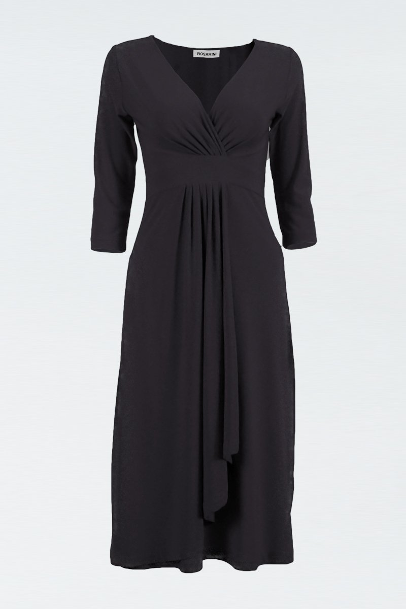 Quarter Sleeve Empire Drape Dress - ROSARINI