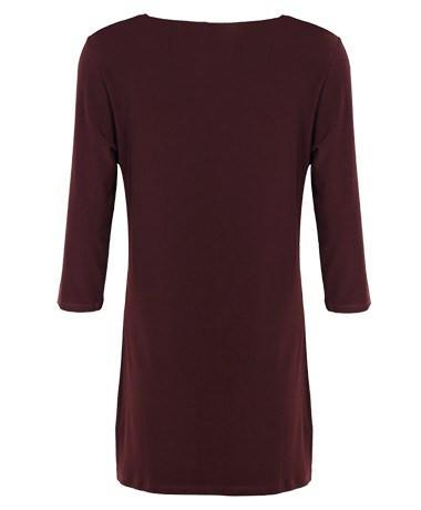 3/4 Sleeve Side Splits Boat Neck Top chestnut