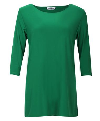 3/4 Sleeve Side Splits Boat Neck Top jade