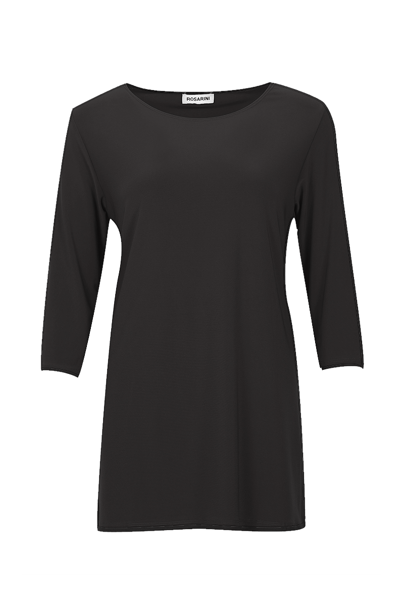 Essential Boat Neck Top with Side Splits Black