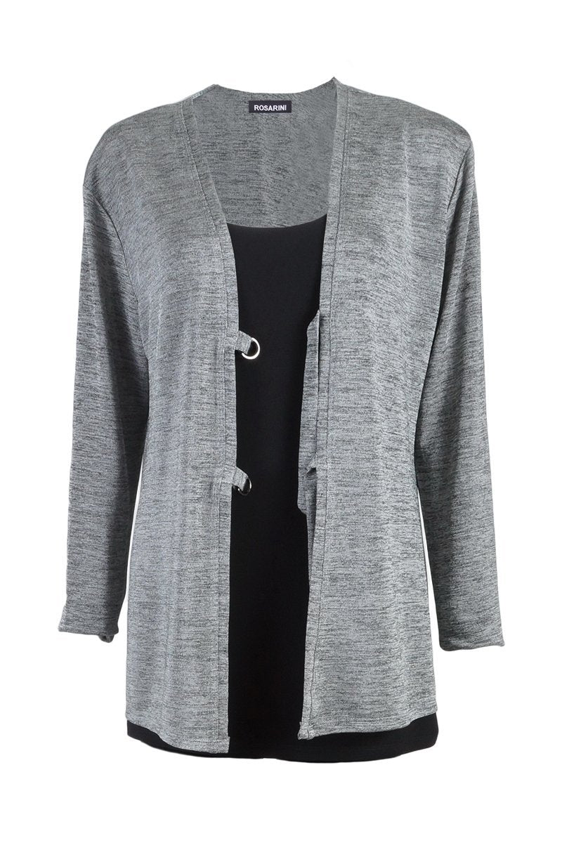 Women's Slinky Grey D-Ring Cardigan Rosarini