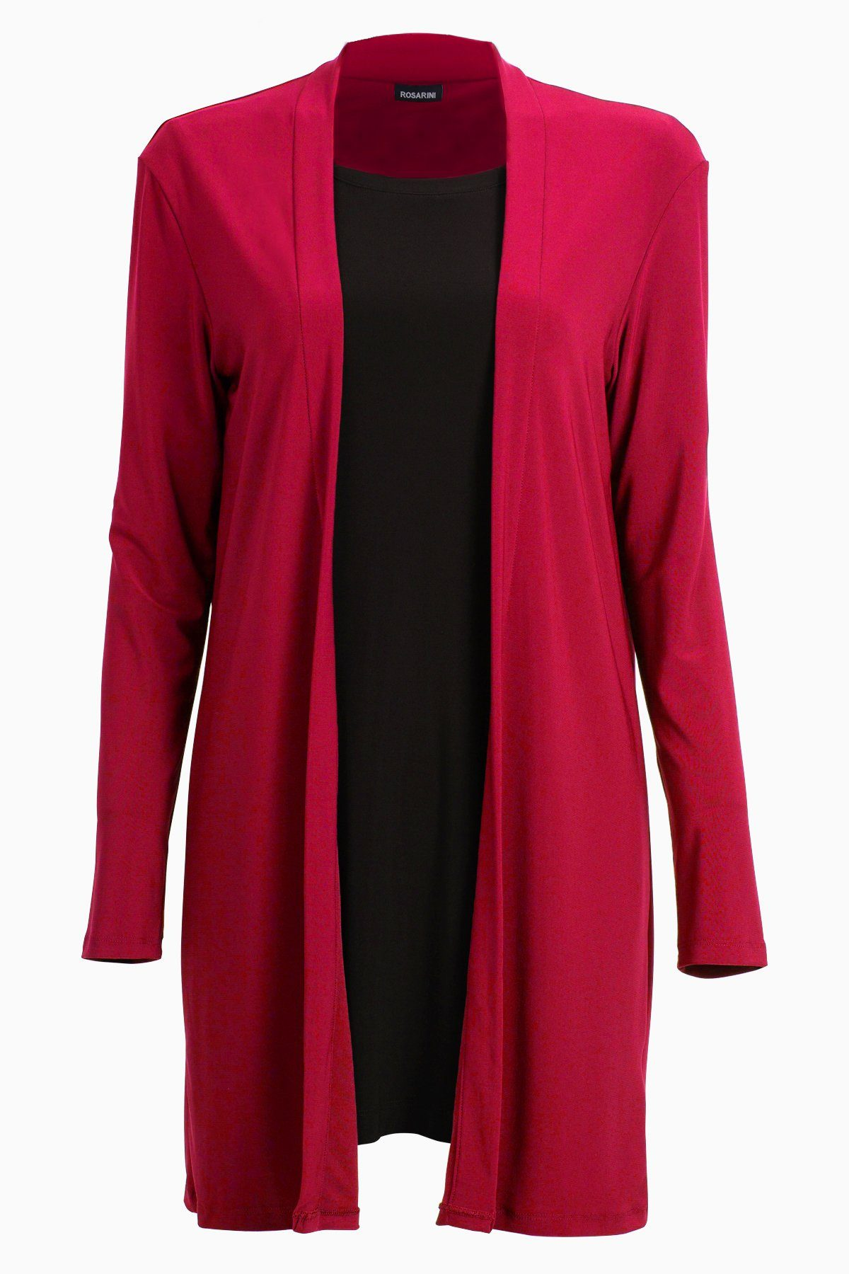 PLUS SIZE Long Sleeve Mid Length Cardigan red