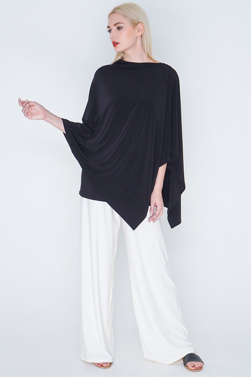 Womens Poncho Black