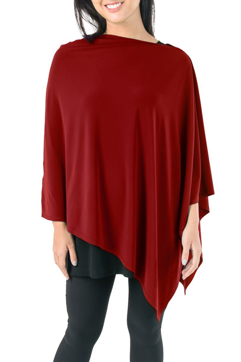Poncho Dark Red - Women's Clothing -ROSARINI