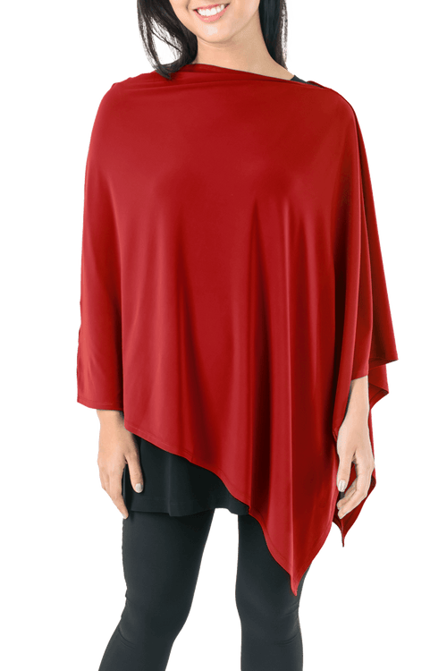 Red Poncho For Ladies - ROSARINI Clothing