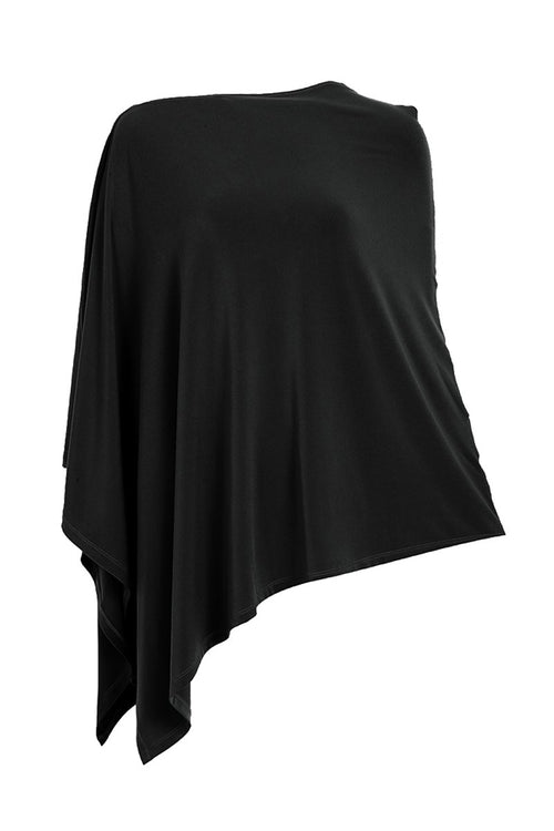 Black Poncho -Women's Clothing Poncho -ROSARINI