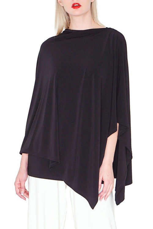 Black Poncho - Women's Clothing Poncho -ROSARINI