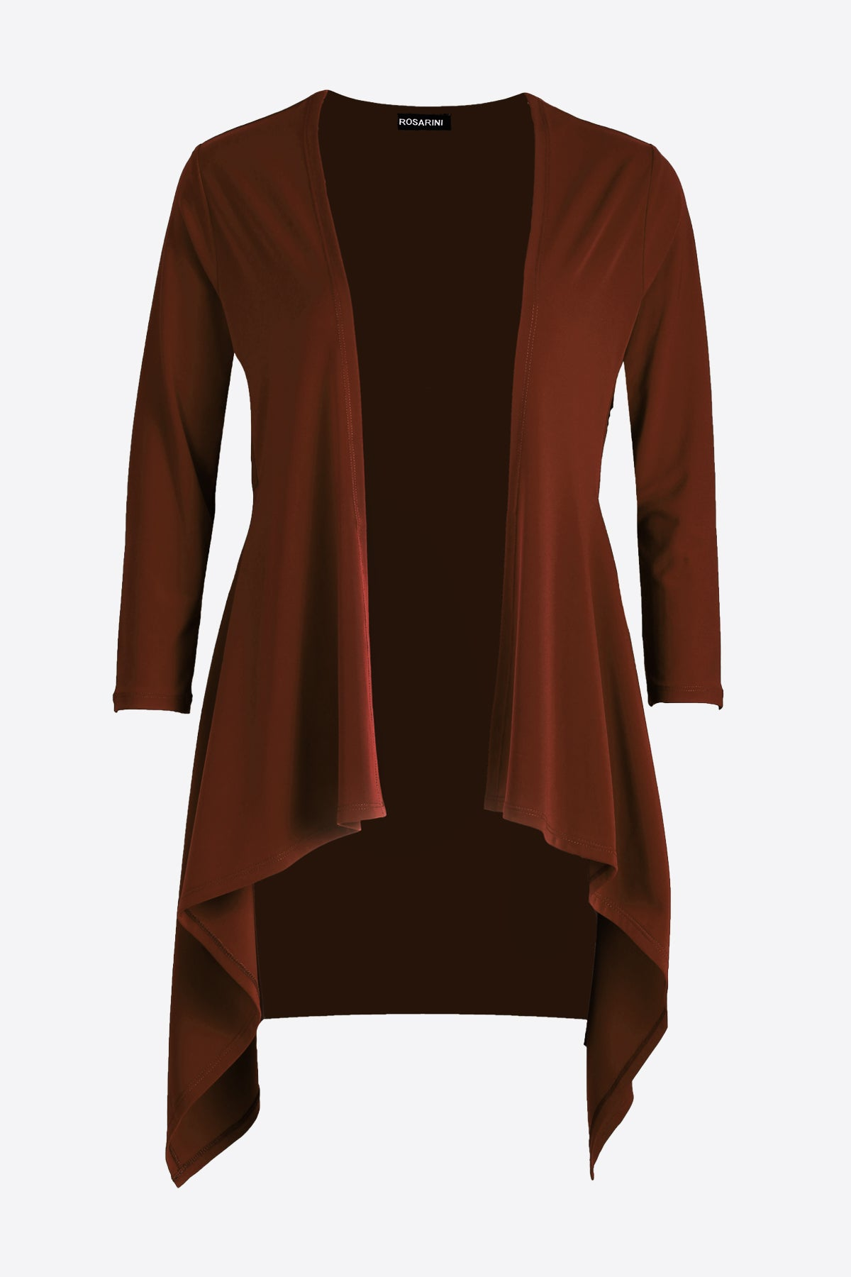 Women's Brown Long Sleeve Contour Cardigan Rosarini