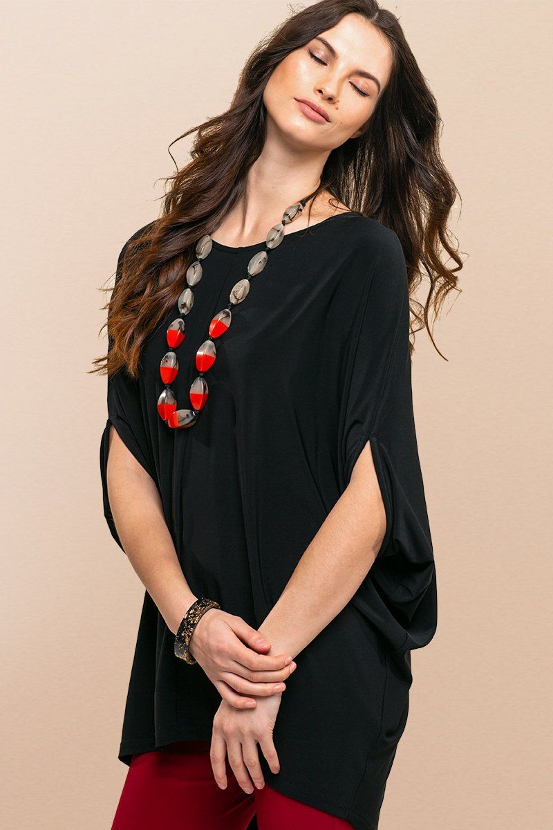 Women Black Batwing Top - Overall Poncho