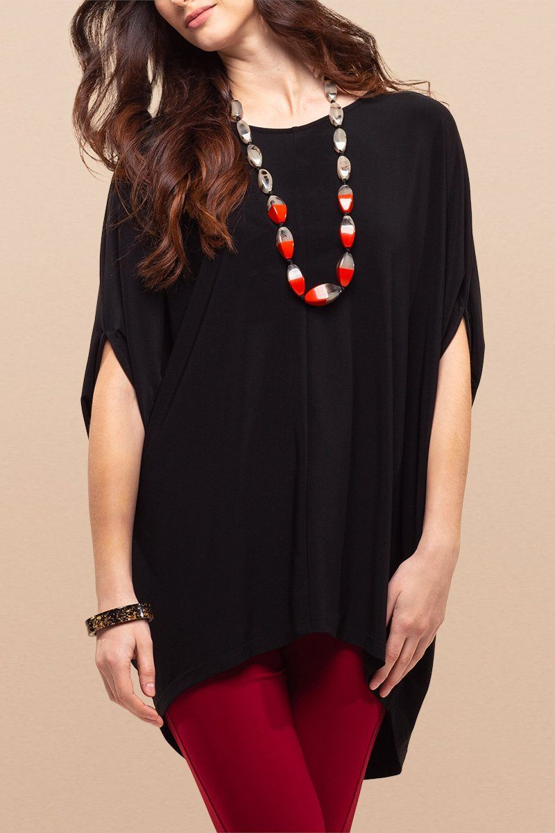 Women Batwing Top - Overall Poncho Black