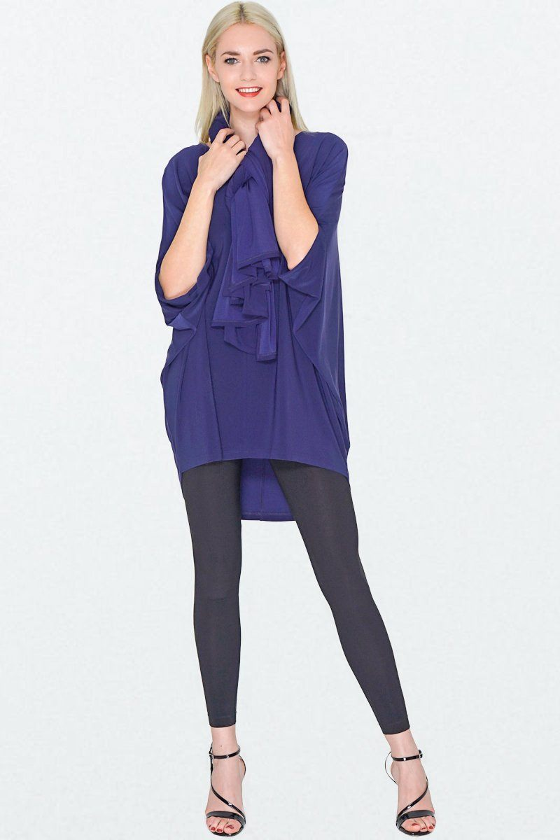 Navy Batwing Top Overall Poncho