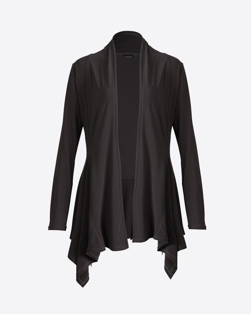 Women's Black Long Sleeve Long Edge Cardigan Rosarini