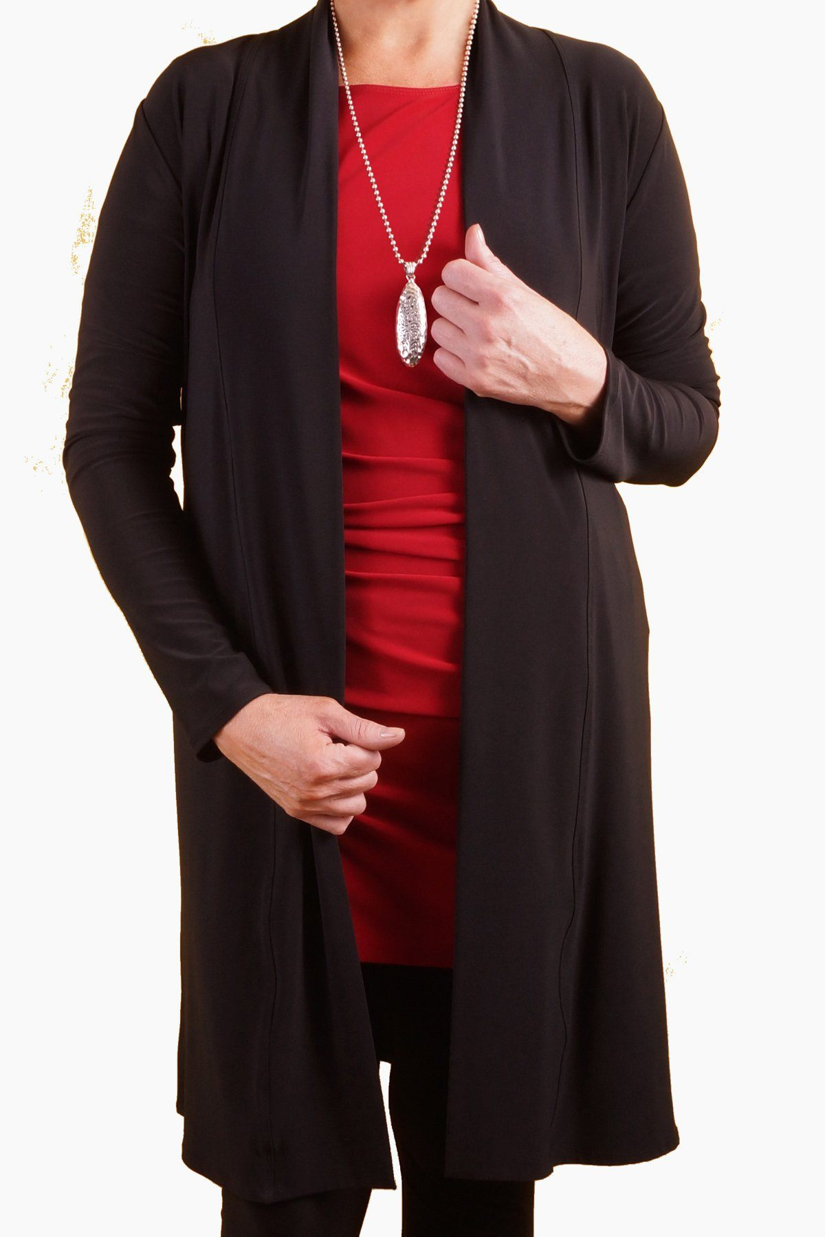 High Neck Long Cardigan with Belt chestnut