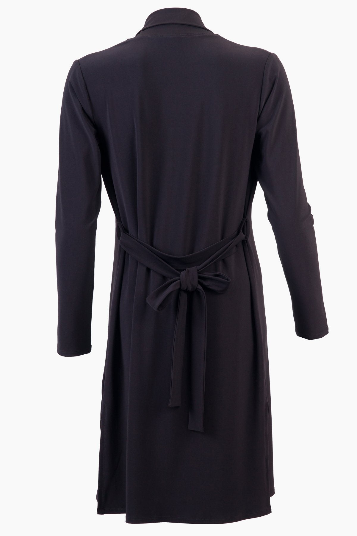 High Neck Long Cardigan with Belt black