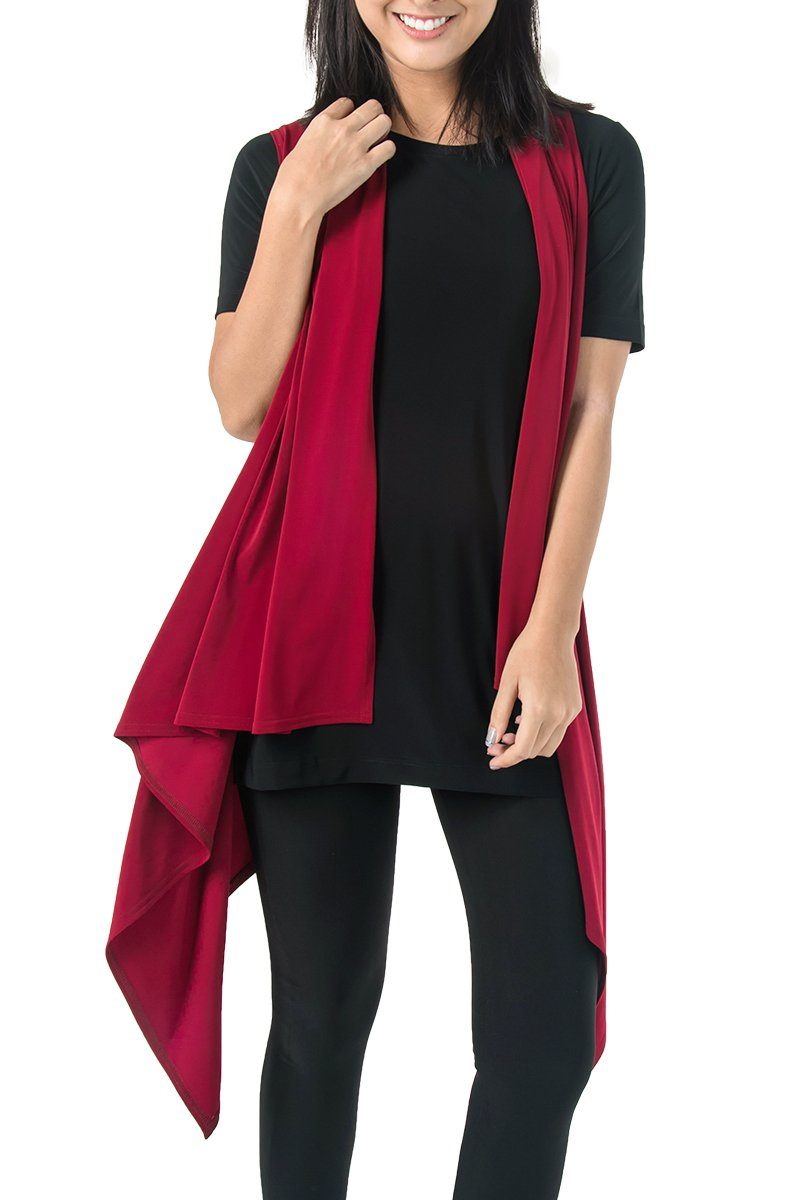 Women's Red Two Way Layering Vest Rosarini