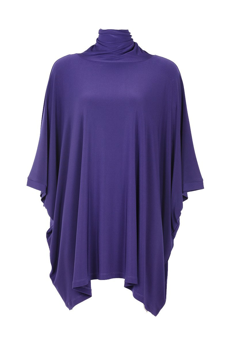 High Neck Layering Poncho Navy Rosarini