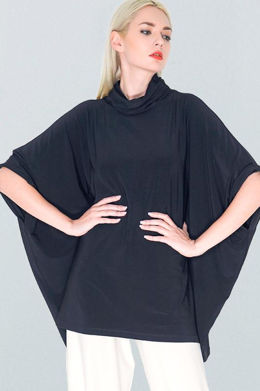High Neck Layering Poncho black Rosarini