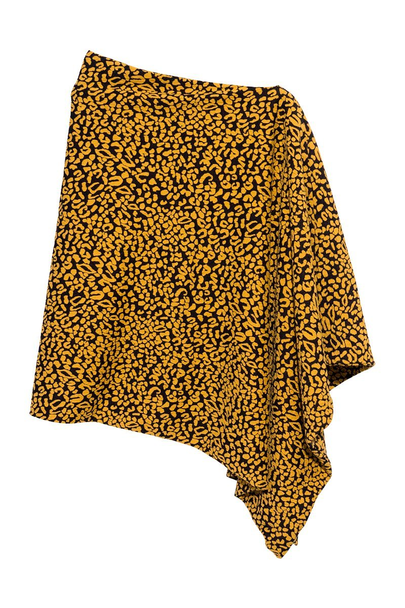 Women's Single Sided Amalfi Leopard Print Poncho Rosarini