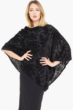Women's Black Velvet Poncho