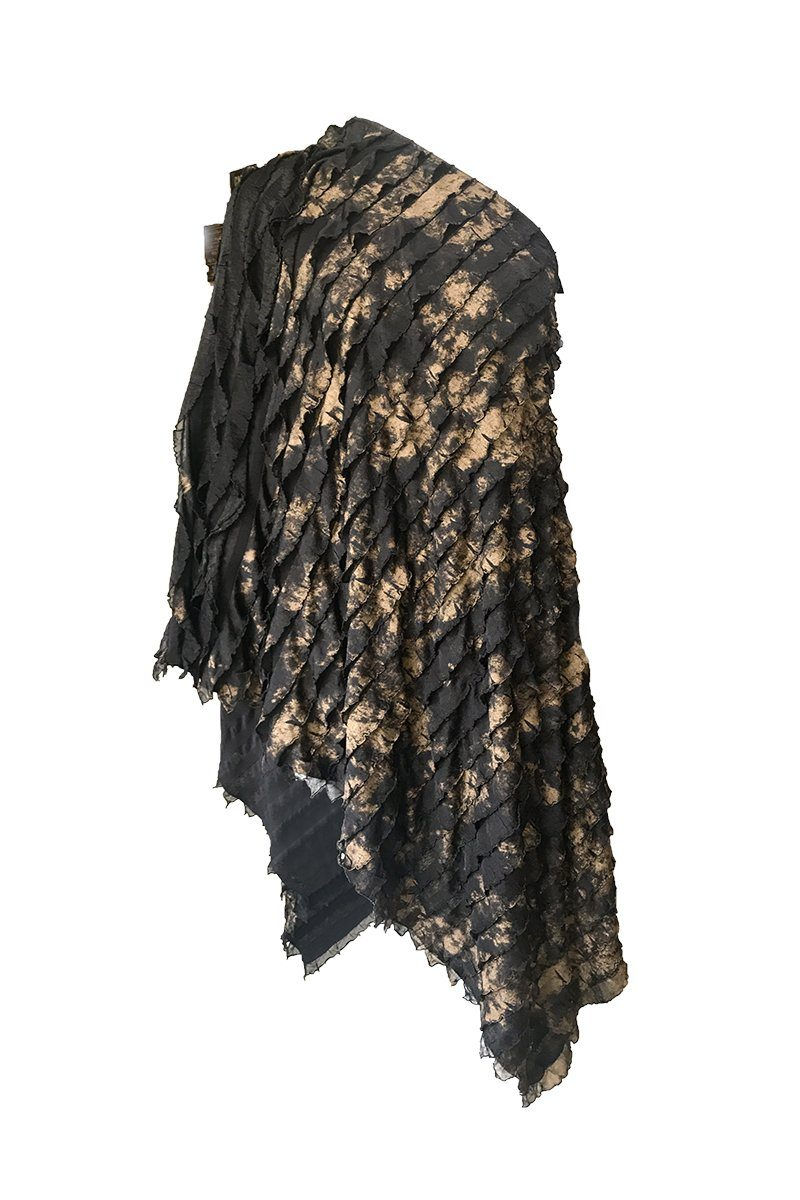 Gold Ruffle Poncho - Women's Clothing -ROSARINI