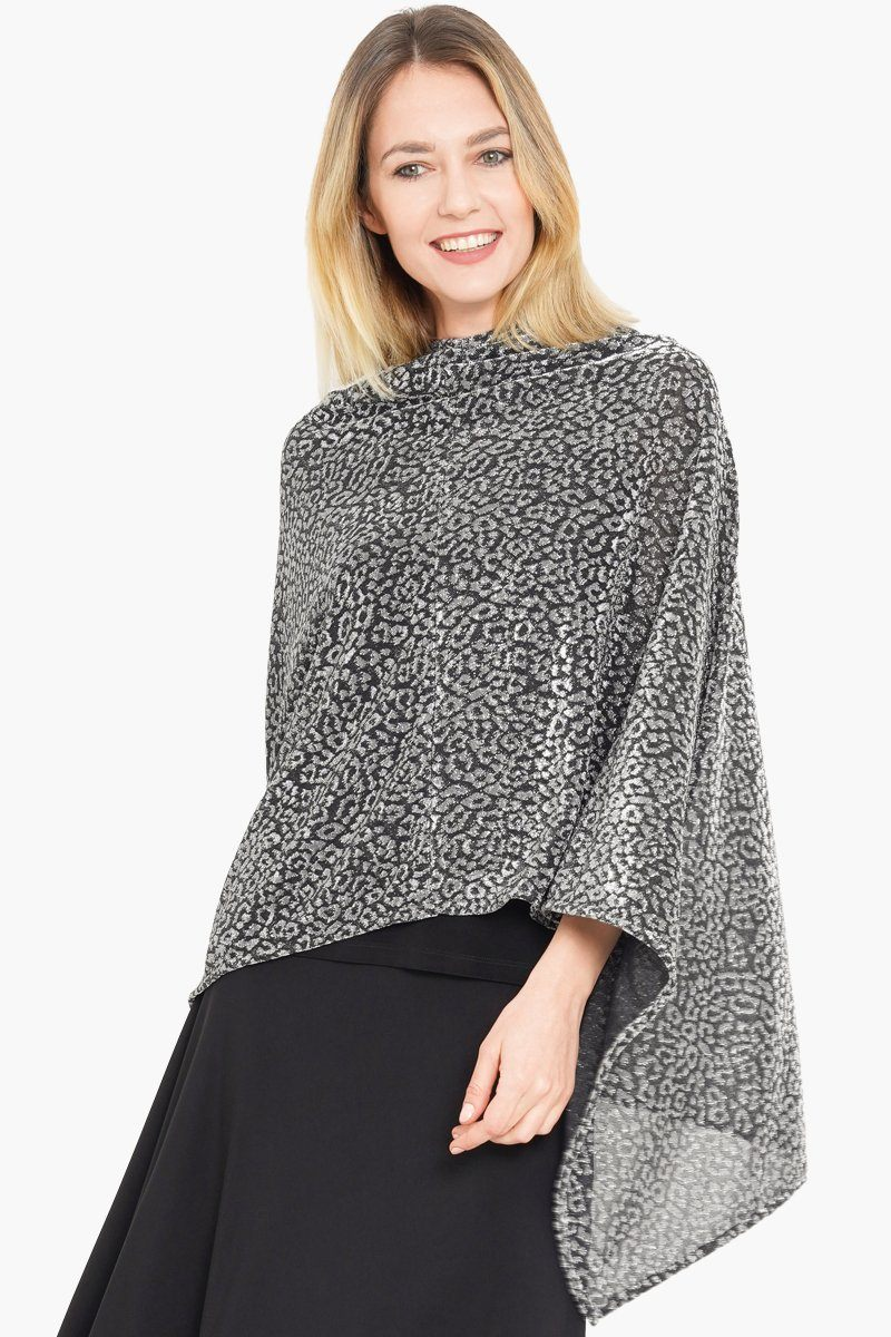Women's Silver Metallic Poncho