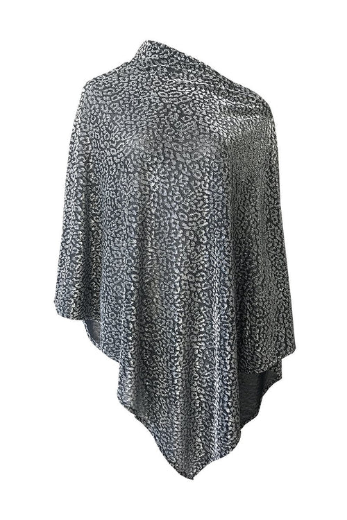 Wild Silver Metallic Poncho - Women's Clothing -ROSARINI