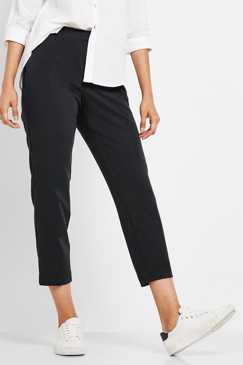 Cropped Pants Black - Women's Clothing -ROSARINI