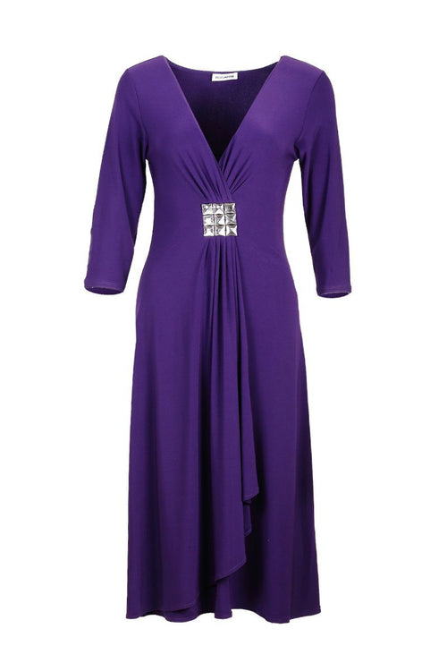 Jewel Dress with Sleeves - Women's Clothing -ROSARINI